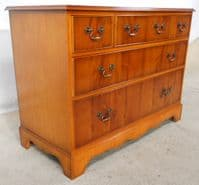 Antique Georgian Style Yew Wood Chest of Three Drawers - SOLD